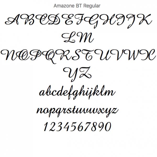 Tipopgrafía Amazone para escoger para hacer el nombre en madera