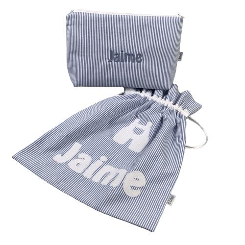 Neceser y bolsa para muda guardería personalizado azul mil rallas