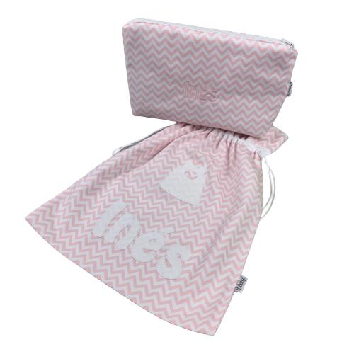 Neceser y bolsa para muda guardería personalizado rosa chevron
