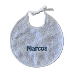 Babero personalizado bebe redondo blanco bordado azul1