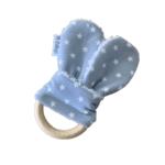 Mordedor bebé tela orejas tela azul estrella blanca