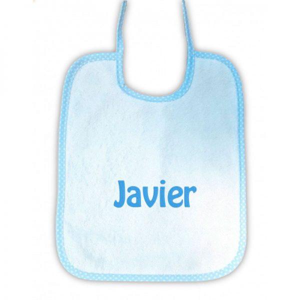 Babero personalizado cuadrado ribete azul de topos