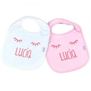 Pack babero personalizado bebé rosa