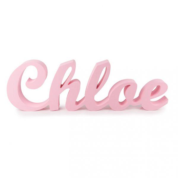 Nombre en madera para estantería Chloe pintado en rosa bebé