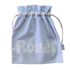 Bolsa merienda personalizada azul rayas