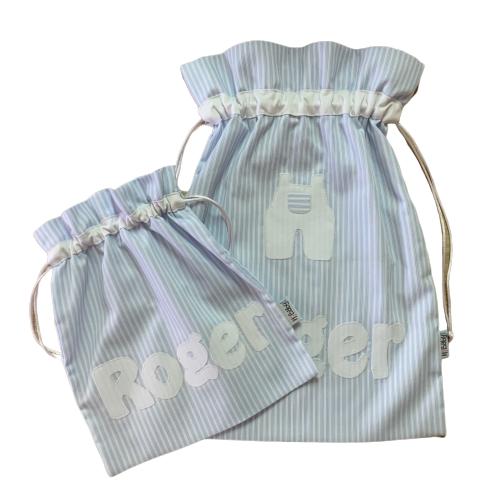 Conjunto bolsa personalizada bebe azul rayas