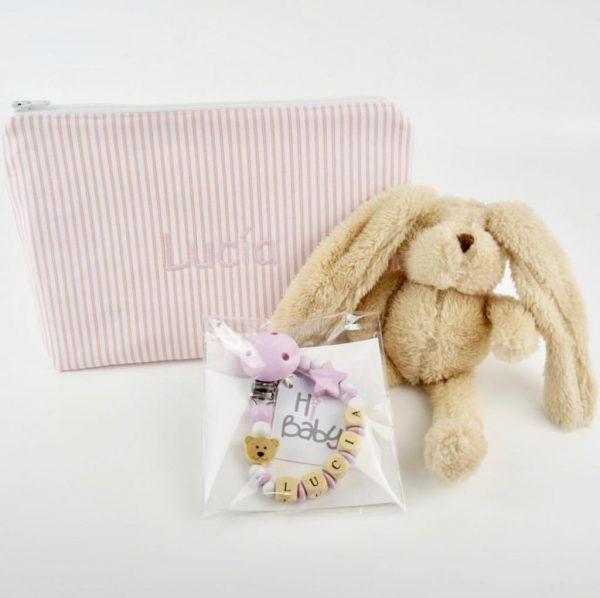 neceser bebé personalizado con nombre bordado rallas rosas